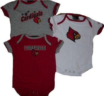 328ba702 Louisville Cardinals Baby Girls 3pc Creeper Bodysuit Set Clothes ...