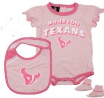 uk availability bc687 c79dc Houston Texans Girls 3pc Onesie Creeper Bib Bootie Baby ...