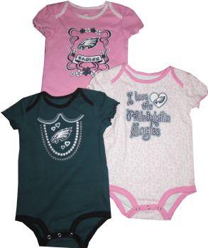 Philadelphia Eagles Girls 3pc Creeper Set Infant Baby ... 48a6e44e4