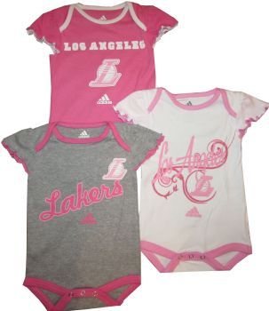 86c1d29020b Los Angeles LA Lakers Baby 3pc Pink Girls Creeper Set Infant NBA Clothes