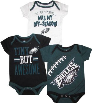 4bd851d7f19 Philadelphia Eagles 3pc Creeper Set Tiny But Awesome Infant Baby |  MiniSportsFan.com