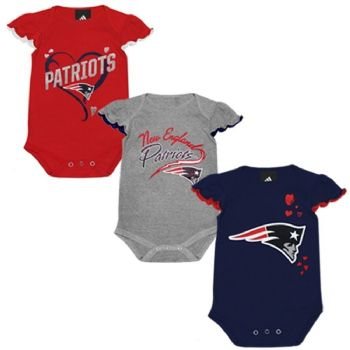 New England Patriots Girls Team Colors 3pc Creeper Set Infant Baby Bodysuit  Shirt Outfit  4d9649ece