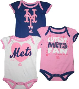 buy online 17ece fad71 New York Mets Girls Baby 3pc Pink Creeper Set Infant MLB ...